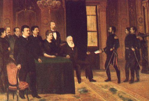 Major Solon Ribeiro entrega a Dom Pedro II ordem do Governo Provisório da República dos Estados Unidos do Brazil banindo a Família Imperial. Óleo sobre tela de ................... Acervo do Museu da Cidade do Rio de Janeiro.