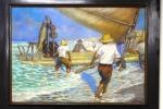 """A bela obra """"Os Jangadeiros"""", tela de Raimundo Cela."""
