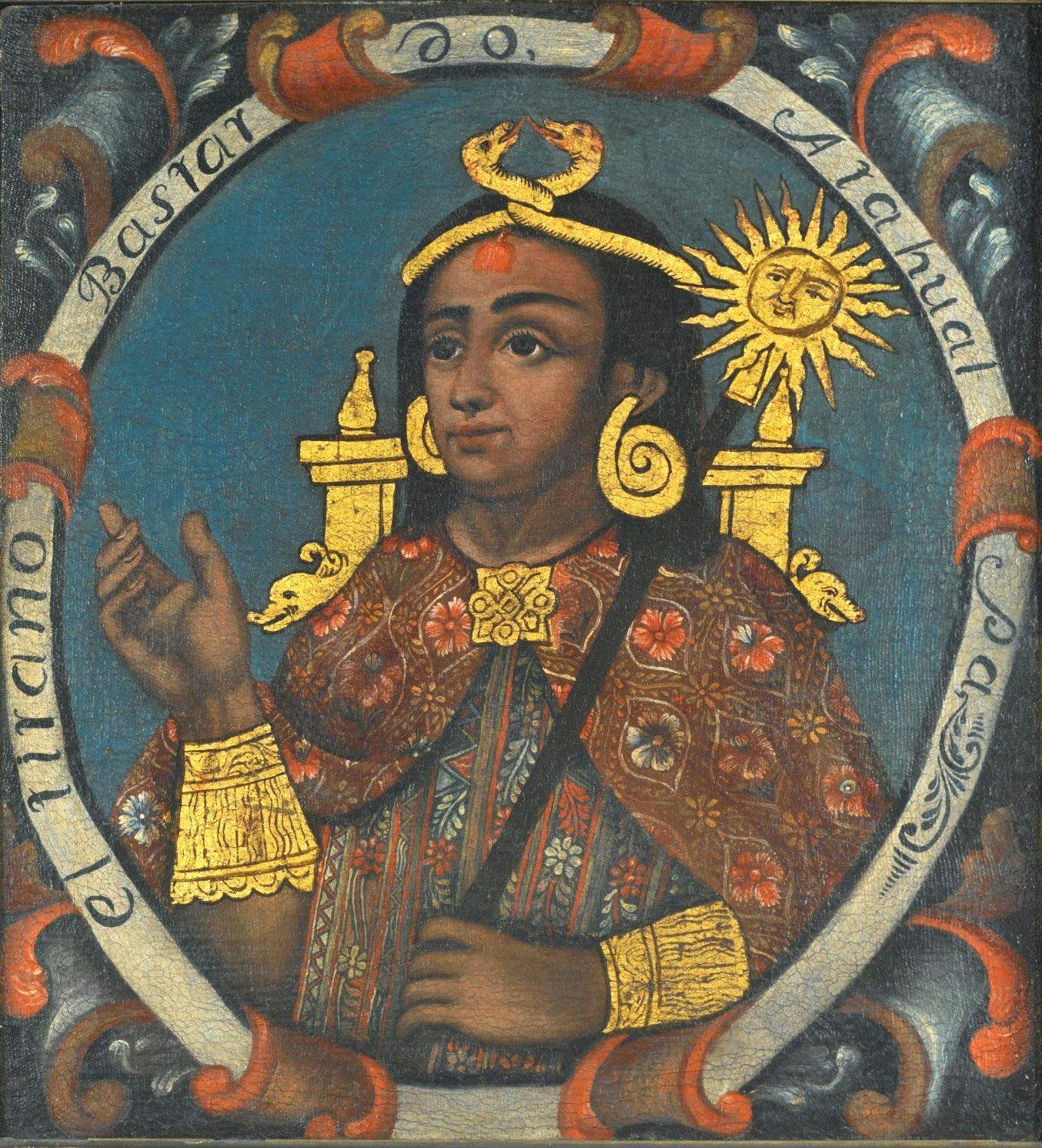 Atawallpa (1507-1533), 14º Sapa Inca (1532-1533), soberano do império indígena andino assassinado pelos conquistadores espanhóis. Imagem do Brooklyn Museum, Nova York.