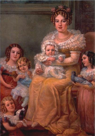 """O pequeno D. Pedro de Alcantara no colo de sua mãe, D. Maria Leopoldina de Áustria, na tela de Domenico Failutti (1921). Acervo do Museu Paulista, da Universidade de São Paulo (USP) - """"Museu do Ipiranga""""."""